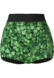 Dolce & Gabbana Short De Seda Estampado - Verde