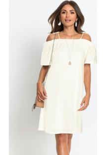 Vestido Em Laise De Malha Off White
