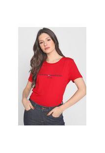 Camiseta Tommy Hilfiger Logo Bordado Vermelha