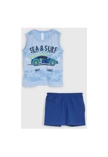 Pijama 2Pçs Malwee Liberta Curto Infantil Carrinho Azul