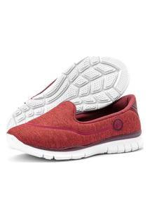 Tênis Caminhada Feminino Esportivo Sapatilhas Slipper Sapatore Bordô