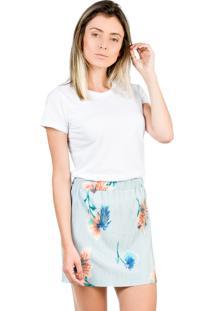 Saia Shop55 Floral Plissada Azul