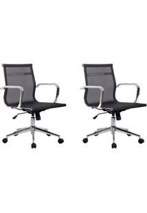 Conjunto Com 2 Cadeiras De Escritório Diretor Giratórias Eames Star Preto