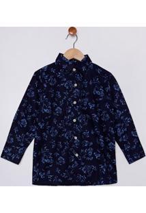 Camisa Manga Longa Infantil Para Menino - Azul Marinho