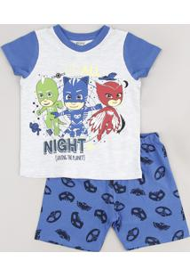 Pijama Infantil Pj Masks Manga Curta Cinza Mescla Claro