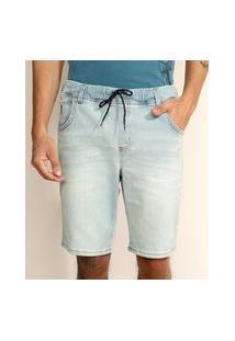 Bermuda Jeans De Moletom Masculina Relaxed Com Cordão Azul Claro