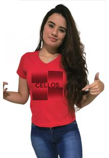 Camiseta Feminina Gola V Cellos Degrad㪠Premium Vermelho - Vermelho - Feminino - Dafiti