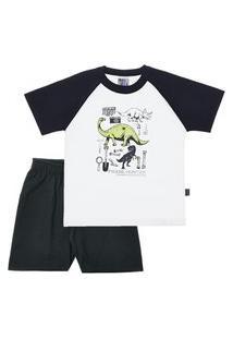 Pijama Branco - Infantil Menino Meia Malha 42755-3 Pijama Branco - Infantil Menino Meia Malha Ref:42755-3-8