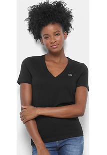 Camiseta Lacoste Decote V Feminina - Feminino