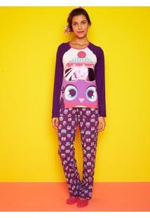 Pijama Manga Longa Corujas Adulto