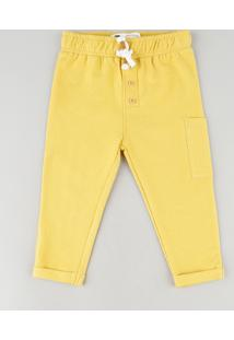 Calça De Moletom Infantil Cargo Amarela