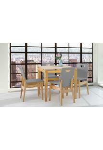 Mesa Com 4 Cadeiras De Jantar Tucupi 80Cm - Acabamento Stain Nózes E Cinza Concreto