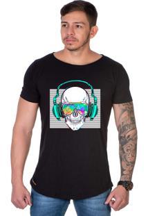 Camiseta Lucas Lunny Oversized Longline Motoqueiro Caveira Fone Som