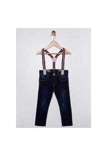 Calça Jeans Moletom Com Suspensório Infantil Para Menino - Azul