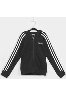 Jaqueta Infantil Adidas Capuz 3 Stripes Feminina - Feminino-Preto+Branco