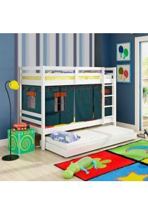 Beliche Infantil Teen Play Com Cama Auxiliar E Tenda Azul - Madeira Maciça - Laca Branco