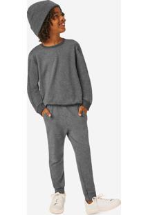 Pijama Mescla Escuro Em Moletinho Menino