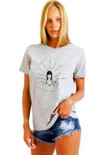 Camiseta Joss Feminina Estampada Rebel Girl - Feminino-Mescla