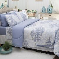 29a2d8fe07 Edredom Dupla-Face Solteiro Toalhas Atlantica Sofisticata Home Arabescos  Azul