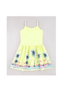 Vestido Infantil Estampado Tropical Com Lurex Alças Finas Amarelo