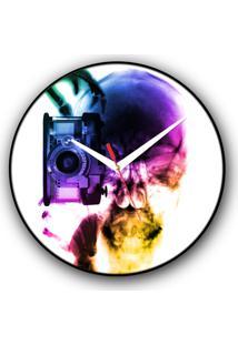 Relógio De Parede Colours Creative Photo Decor Decorativo, Criativo E Diferente - Raio-X De Caveira Fotógrafo Colorida