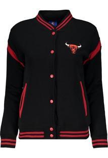 Fut Fanatics. Jaqueta Nba Chicago Bulls College Feminina Preta E Vermelha c2b70e971776f