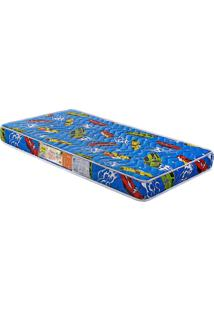 Colchão De Berço Baby Luxo D18 Azul 130X70X12 Branco C/Ursinhos Celiflex
