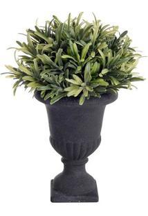 Vaso Decorativo Em Relevo Médio- Preto & Verde- 21Xømdecor