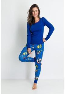 Pijama Longo Ribana De Algodão Heróis Acuo Feminino - Feminino