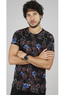 Camiseta Masculina Slim Fit Estampada Floral Com Cobra Manga Curta Gola Careca Preto