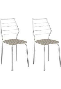Conjunto 2 Cadeiras 1716 Casual Tecido Retro Metalizado Cromado