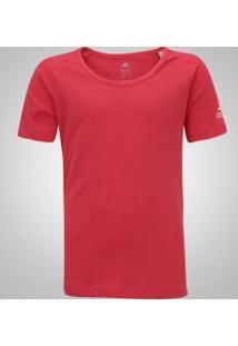 Camiseta Adidas Lg Cotton Feminina - Infantil - Rosa Escuro