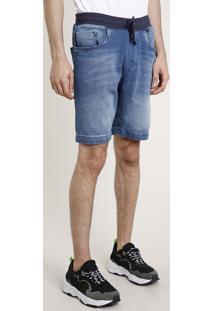 Bermuda Jeans Masculina Slim Com Cordão Azul Escuro