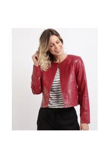 Jaqueta Feminina Com Botões Vermelha