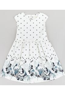Vestido Infantil Estampado De Borboletas Com Laço E Vazado Sem Manga Off White