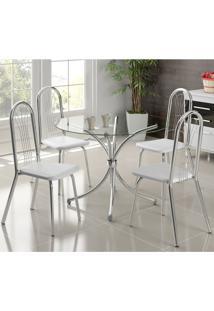 Conjunto De Mesa De Jantar Com 4 Cadeiras Chiphe E Dinamo Napa Branca