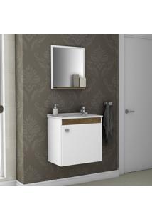 Gabinete Para Banheiro Com Cuba E Espelheira Siena Móveis Bechara Branco/Madeira Rústica