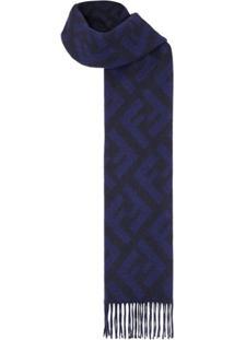 Fendi Cachecol Ff Com Logo - Azul