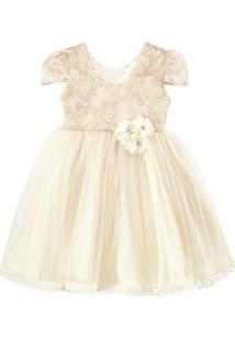 Vestido De Festa Libelinha Para Bebê Com Tule Devorê Cru