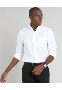 Camisa Masculina Comfort Maquinetada Com Bolso Manga Longa Off White