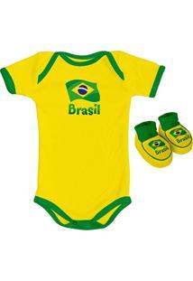 Kit Body + Sapatinho Infantil Torcida Baby Brasil Masculino - Masculino