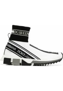 Dolce & Gabbana Tênis Meia Com Logo - Branco