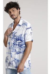 Camisa Masculina Tradicional Estampada Tropical Manga Curta Off White