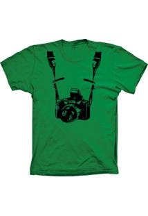 Camiseta Baby Look Lu Geek Fotógrafo Verde