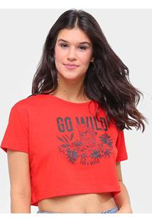 Camiseta Sommer Cropped Go Will Feminina - Feminino-Laranja