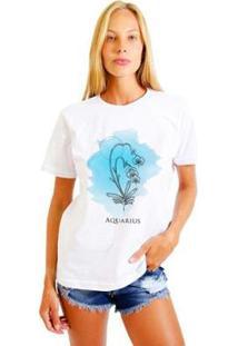 Camiseta Joss Feminina Estampada Signo Aquarius - Feminino-Branco