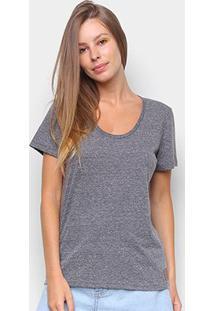 Camiseta Colcci Basic Feminina - Feminino-Cinza+Branco