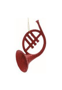 Enfeite Para Arvore Trompa Vermelho - 2 Unidades 10Cm