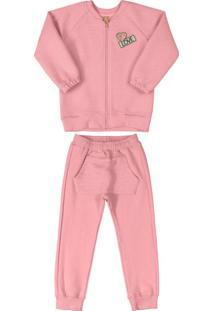 Conjunto Jaqueta E Calça Com Bolso Rosa