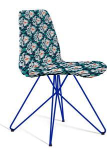 Cadeira Eames Base Aço Carbono Daf Azul/Verde